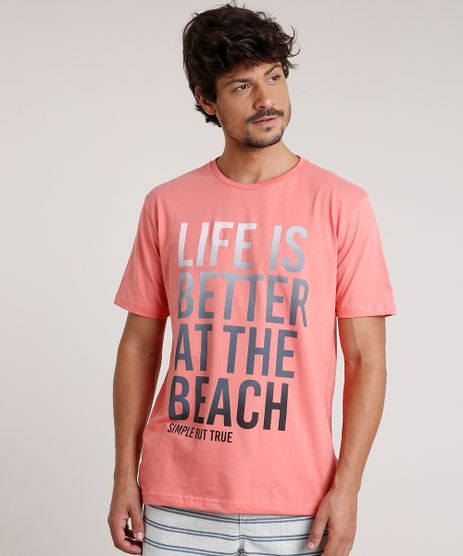 Camiseta-Masculina--Life-is-Better-at-the-Beach--Manga-Curta-Gola-Careca-Coral-9786716-Coral_1