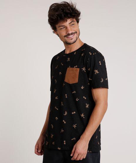 Camiseta-Masculina-Estampada-Tropical-com-Bolso-em-Suede-Manga-Curta-Gola-Careca-Preta-9738315-Preto_1