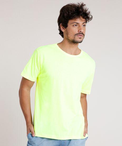 Camiseta-Masculina-Basica-Manga-Curta-Gola-Careca-Amarela-Neon-9757282-Amarelo_Neon_1