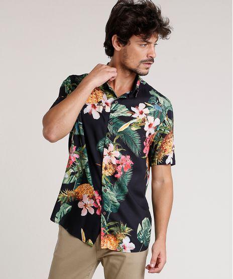 Camisa-Masculina-Tradicional-Estampada-de-Abacaxi-Manga-Curta-Preta-9729726-Preto_1