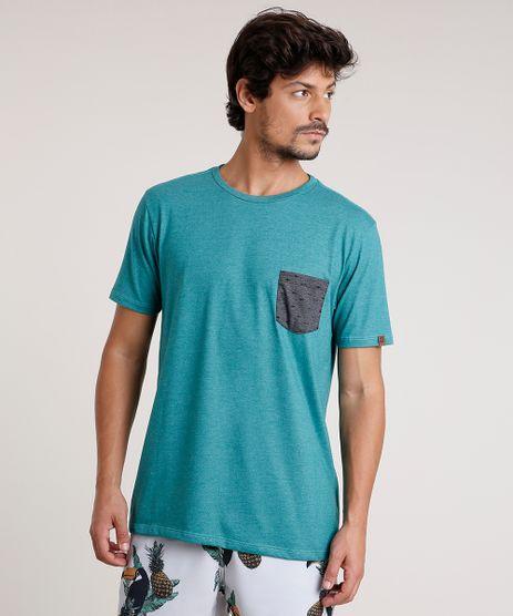 Camiseta-Masculina-com-Bolso-Estampado-de-Peixes-Manga-Curta-Gola-Careca-Verde-9737044-Verde_1