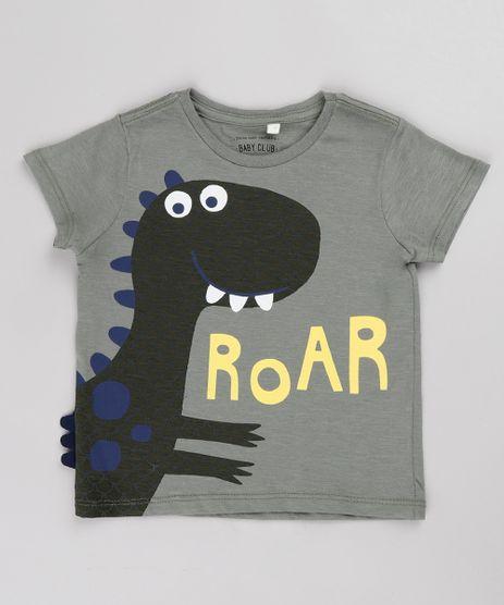 Camiseta-Infantil-Dinossauro-Manga-Curta-Verde-Militar-9733614-Verde_Militar_1