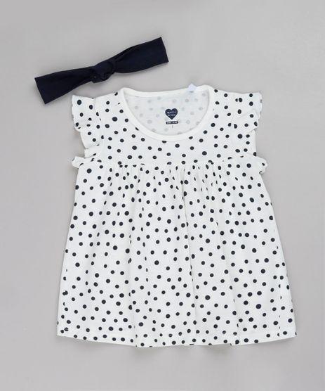 Blusa-Infantil-Estampada-de-Poa-com-Babado-Manga-Curta---Faixa-de-Cabelo-Off-White-9782110-Off_White_1