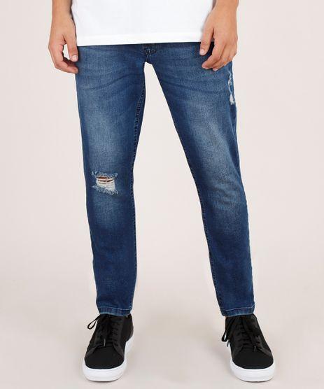 Calca-Jeans-Masculina-Skinny-com-Rasgos-Azul-Escuro-9826062-Azul_Escuro_1