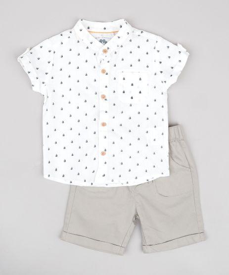 Conjunto-Infantil-de-Camisa-em-Linho-Manga-Curta-Gola-Portuguesa---Bermuda-com-Bolsos-Kaki-9669853-Kaki_1
