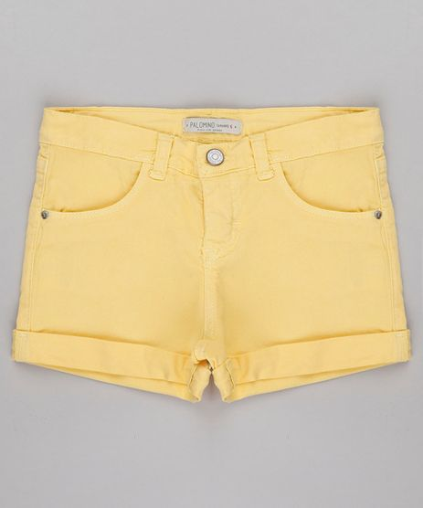Short-de-Sarja-Infantil-Barra-Dobrada-Amarelo-Claro-9741610-Amarelo_Claro_1