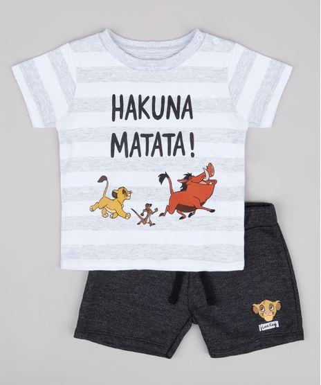 Conjunto-Infantil-O-Rei-Leao-de-Camiseta-Listrada-Branca-Manga-Curta---Bermuda-em-Moletom-Cinza-Mescla-Escuro-9704707-Cinza_Mescla_Escuro_1