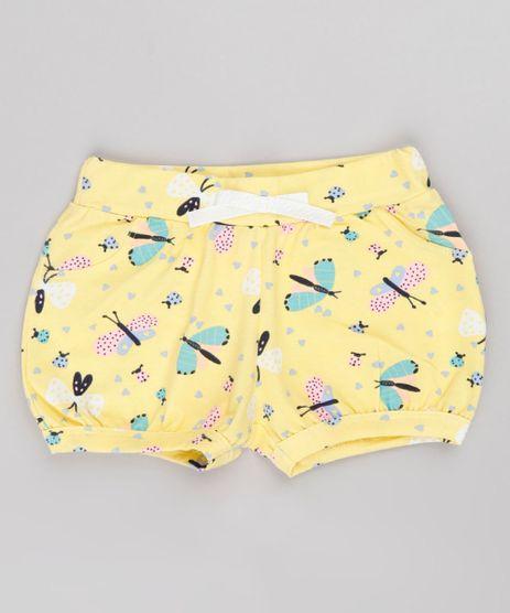 Short-Infantil-Balone-Estampado-de-Borboletas-com-Laco-Amarelo-9742264-Amarelo_1