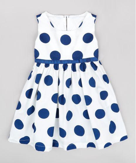 Vestido-Infantil-Estampado-de-Poa-com-Laco-Sem-Manga-Off-White-9740376-Off_White_1