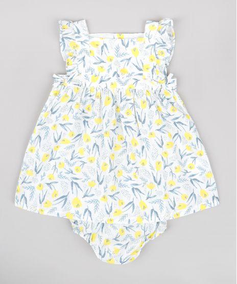 Vestido-Infantil-Estampado-Floral-com-Babado-Sem-Manga---Calcinha-Branco-9682001-Branco_1