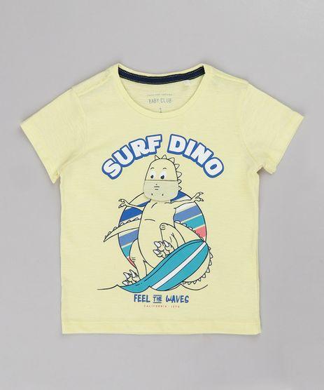 Camiseta-Infantil-com-Estampa-Interativa-de-Dinossauro-Manga-Curta-Amarelo-Claro-9731954-Amarelo_Claro_1