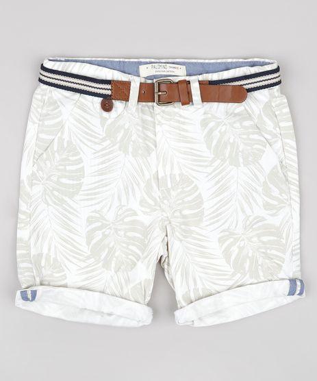 Bermuda-de-Sarja-Infantil-Estampada-de-Folhagens-com-Cinto--Off-White-9662828-Off_White_1
