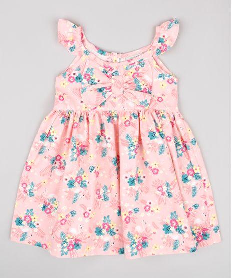 Vestido-Infantil-Estampado-Floral-com-Babado-e-Laco-Sem-Manga-Rosa-9740372-Rosa_1