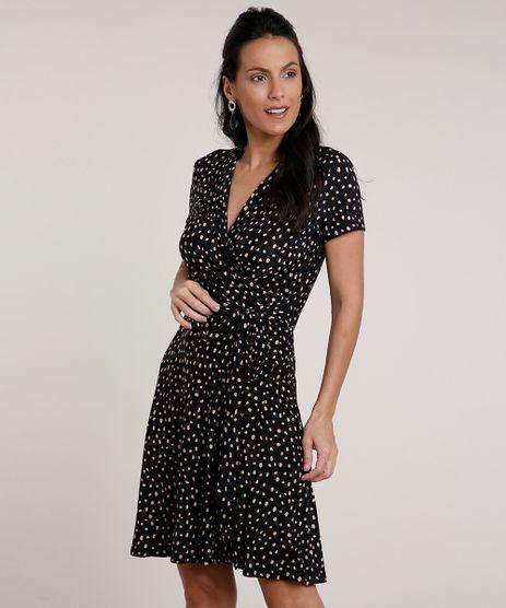 Vestido-Feminino-Curto-Transpassado-Estampado-de-Poa-Manga-Curta-Preto-9760943-Preto_1