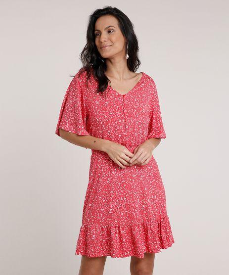 Vestido-Feminino-Curto-Estampado-Floral-com-Babado-Manga-Curta-Vermelho-9842048-Vermelho_1
