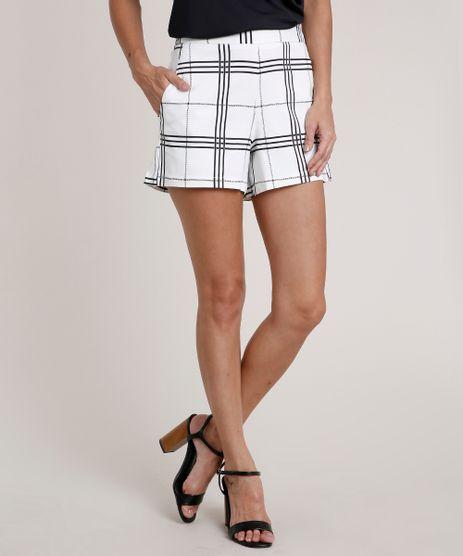 Short-Feminino-Estampado-Xadrez-com-Bolsos-Off-White-9686437-Off_White_1