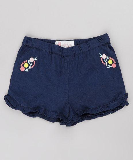 Short-Infantil-com-Linho-Bordado-Floral-e-Babado--Azul-Marinho-9688980-Azul_Marinho_1