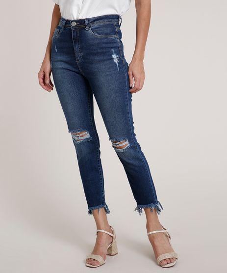 Calca-Jeans-Feminina-Cigarrete-Cintura-Super-Alta-Destroyed-Azul-Escuro-9830501-Azul_Escuro_1