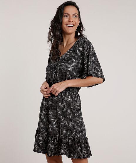 Vestido-Feminino-Curto-Estampado-de-Poa-com-Babado-Manga-Curta-Preto-9842049-Preto_1