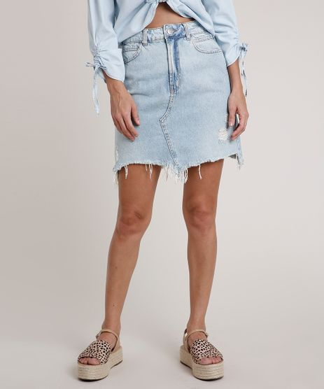 Saia-Jeans-Feminina-Curta-Destroyed-Azul-Claro-9834583-Azul_Claro_1