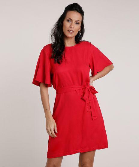Vestido-Feminino-Curto-com-Faixa-para-Amarracao-Manga-Curta-Vermelho-9703472-Vermelho_1