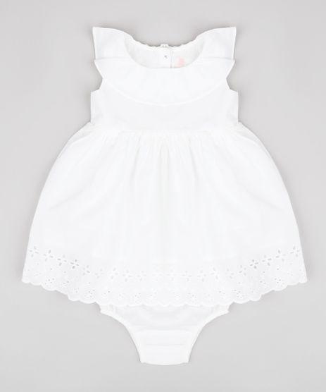 Vestido-Infantil-em-Laise-com-Babado-Sem-Manga---Calcinha-Off-White-9698488-Off_White_1