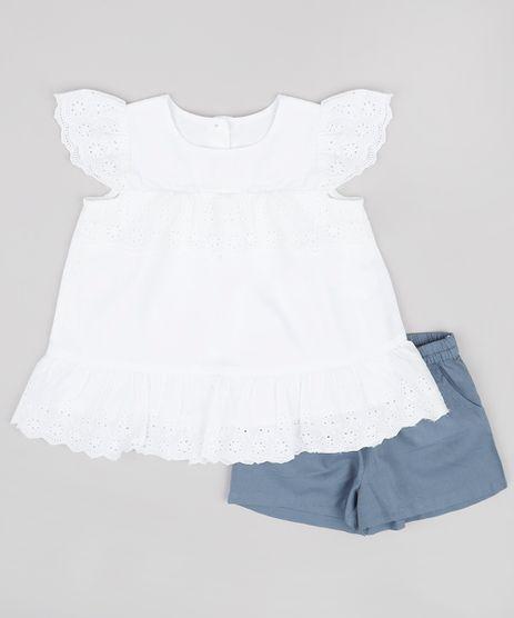 Conjunto-Infantil-de-Blusa-com-Laise-Manga-Curta---Short-Azul-9688974-Azul_1
