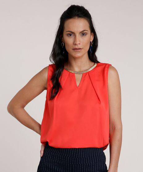 Regata-Feminina-Acetinada-com-Corrente-Decote-Redondo-Coral-9692157-Coral_1