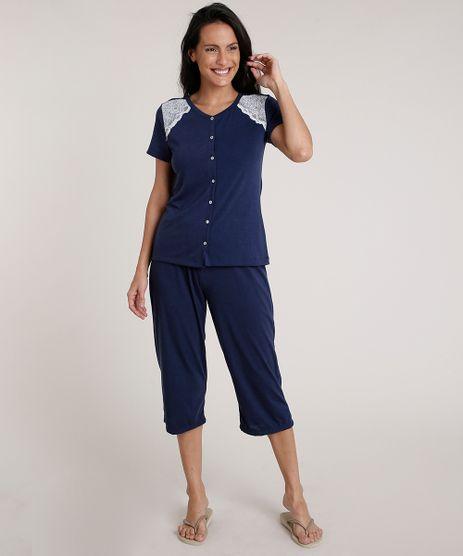 Pijama-Feminino-com-Botoes-e-Renda-Manga-Curta-Azul-Marinho-9700509-Azul_Marinho_1