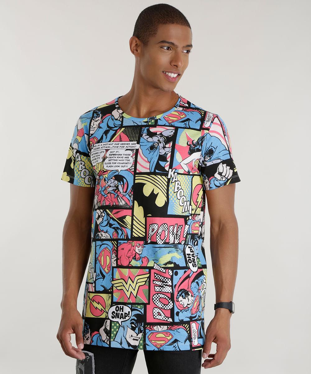 243ee827c0cfd ... Camiseta-Estampada-DC-Comics-Azul-8586675-Azul 1