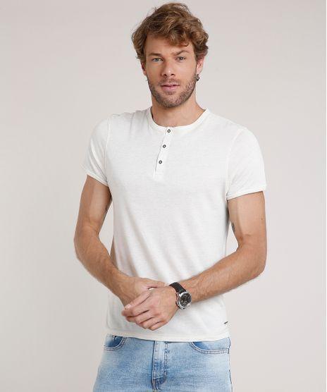 Camiseta-Masculina-Slim-Fit-com-Linho-Manga-Curta-Gola-Portuguesa-Bege-Claro-9806200-Bege_Claro_1