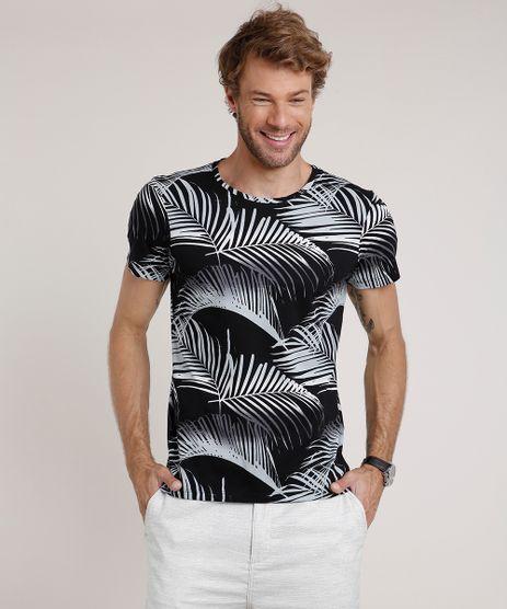 Camiseta-Masculina-Slim-Fit-Estampada-de-Folhagem-Manga-Curta-Gola-Careca-Preta-9729552-Preto_1
