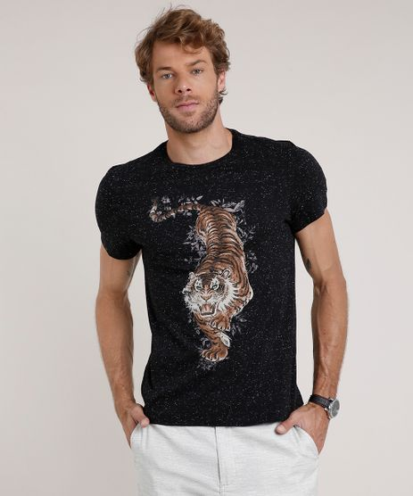 Camiseta-Masculina-Slim-Fit-Tigre-Manga-Curta-Gola-Careca-Preta-9806125-Preto_1