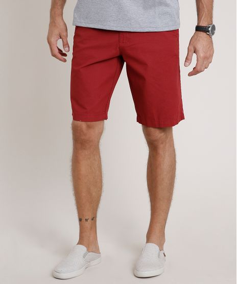 Bermuda-de-Sarja-Masculina-Estampada-Mini-Print-Vermelha-9763901-Vermelho_1