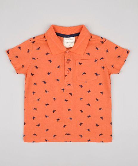 Polo-Infantil-em-Piquet-Estampado-de-Caranguejo-com-Bolso-Manga-Curta--Coral-9671650-Coral_1