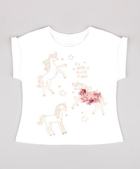 Blusa-Infantil-com-Estampa-de-Unicornio-Manga-Curta-Off-White-9765901-Off_White_1