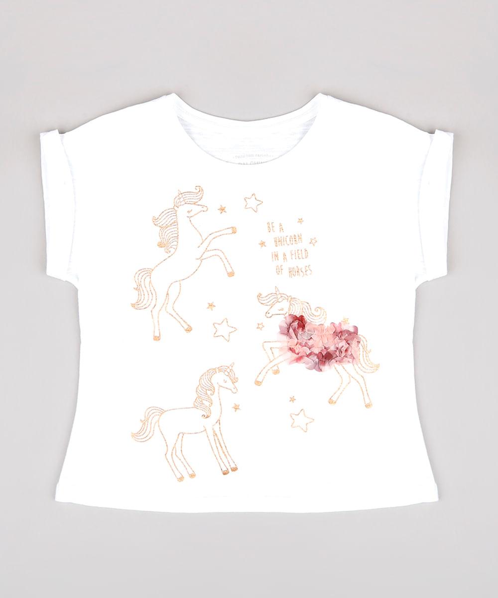 Blusa Infantil com Estampa de Unicórnio Manga Curta Off White
