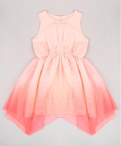 Vestido-Infantil-em-Tule-com-Degrade-Alca-Larga-Coral-9682137-Coral_1