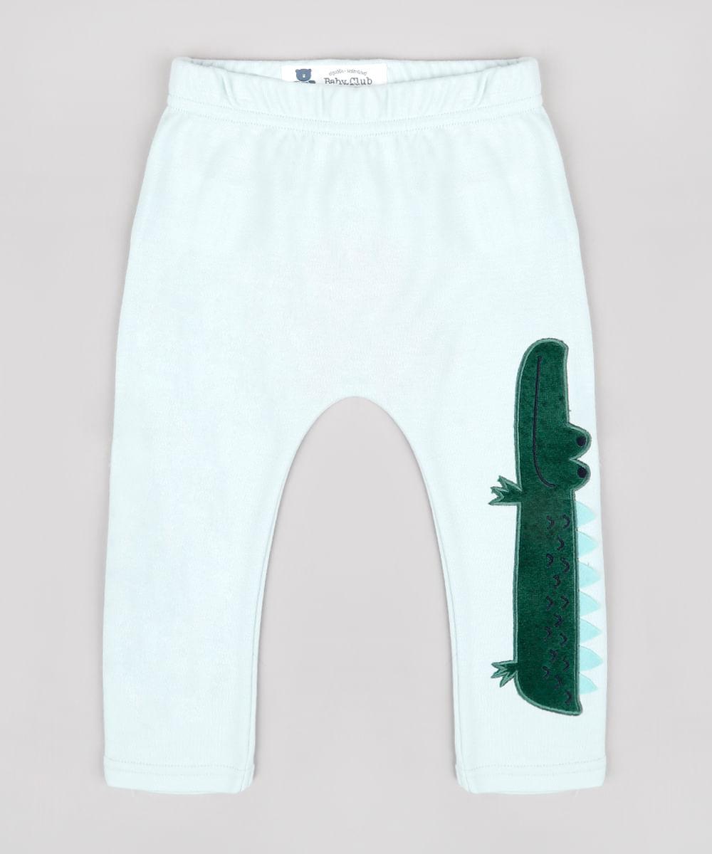 Calça Infantil com Patch de Jacaré Verde