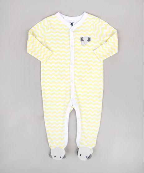 Macacao-Infantil-com-Patch-de-Elefante-Estampado-Chevron-Manga-Longa-Amarelo-9680654-Amarelo_1