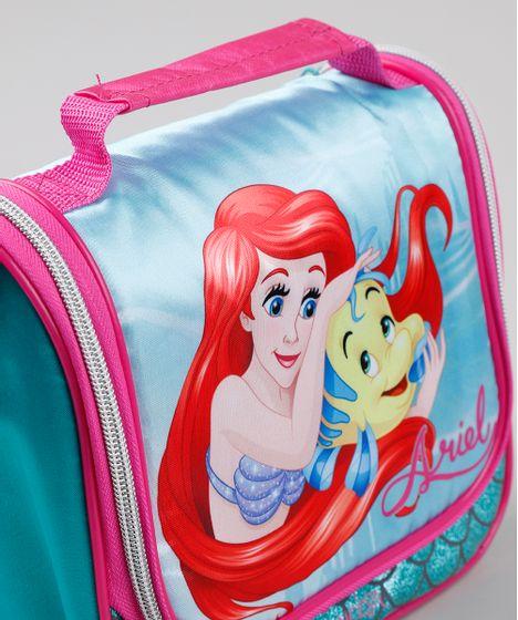 Lancheira Termica Escolar Infantil Pequena Sereia Ariel Com Brilho