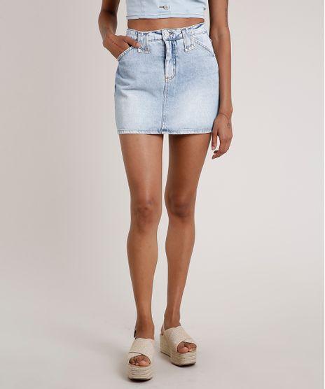 Saia-Jeans-Feminina-Curta-com-Tachas-Azul-Claro-9833803-Azul_Claro_1