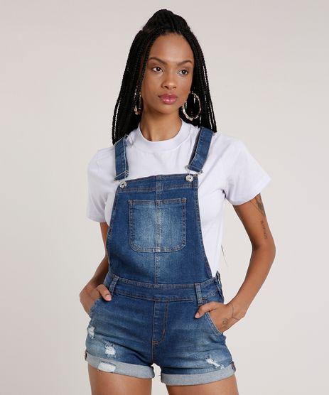 Jardineira-Jeans-Feminina-Reta-com-Rasgos-e-Bolsos-Azul-Escuro-9750166-Azul_Escuro_1