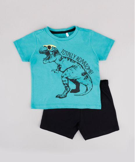 Conjunto-Infantil-de-Camiseta-Dinossauro-Manga-Curta-Verde-Agua---Short-em-Moletom--Preto-9843690-Preto_1