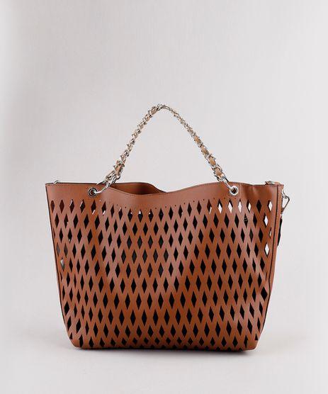 Bolsa-Feminina-Tote-Grande-com-Laser-Cut-e-Alca-de-Corrente-Caramelo-9505291-Caramelo_1