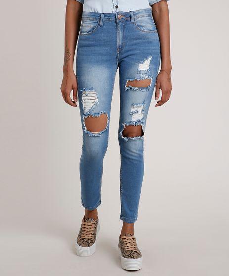 Calca-Jeans-Feminina-Skinny-Cintura-Media-Destroyed-Azul-Medio-9835549-Azul_Medio_1