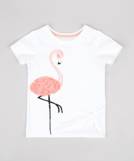 Blusa-Infantil-com-Estampa-de-Flamingo-com-Textura-Manga-Curta-Off-White-9748625-Off_White_1