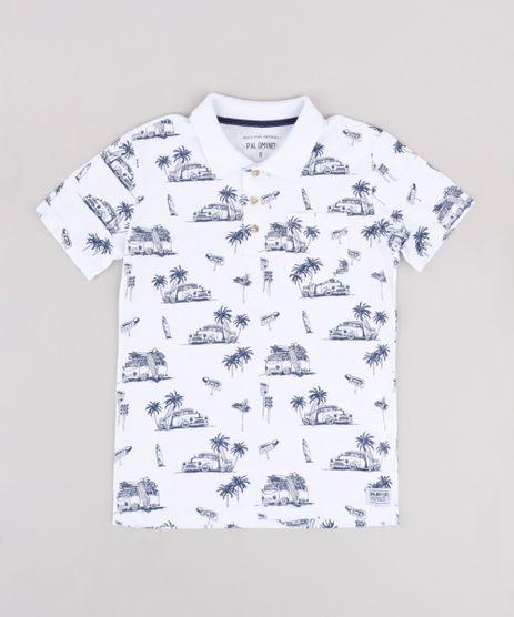 Polo-Infantil-Estampada-Tropical-com-Bolso-Manga-Curta--Branca-9778285-Branco_1
