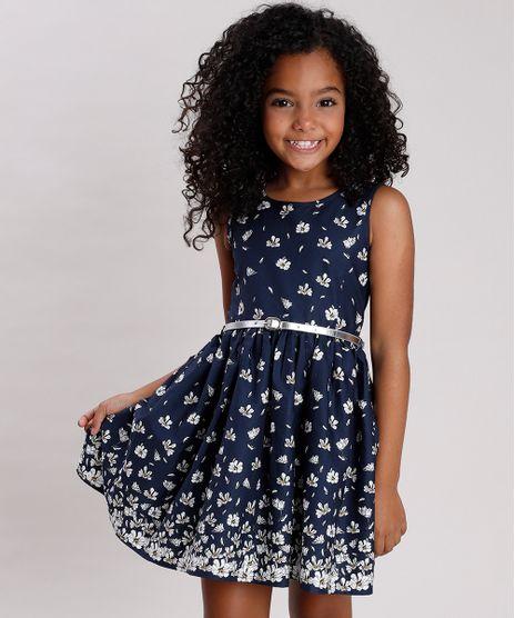 Vestido-Infantil-Estampado-Floral-com-Cinto-Metalizado-Sem-Manga-Azul-Marinho-9675857-Azul_Marinho_1