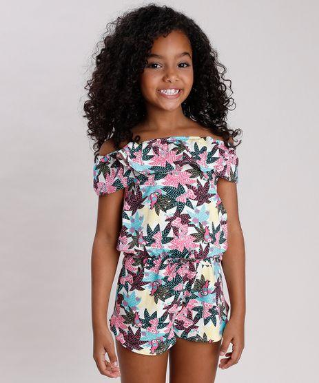 Macaquinho-Infantil-Ciganinha-Barbie-Estampado-de-Folhagem-Manga-Curta-Off-White-9805835-Off_White_1